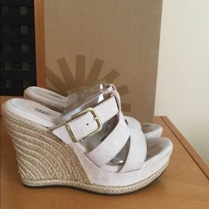 UGG Hedy cream wedge heel sling back sandals